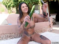 Tattooed brunette babe with big tits gives a blowjob outdoors after drilling her asshole with toys