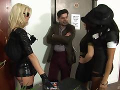 Office costume party turns hardcore with three ladies for him to fuck