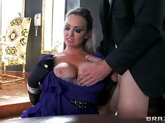 Classy milf Abbey Brooks blows and fucks the card dealer