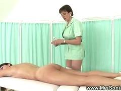 Mistress spanking naked babes ass
