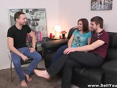 Nasty brunette fucks with a guy while her boyfriends watches
