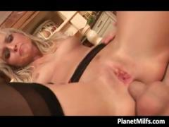 Kitchen fucking in hot and sexy lingerie