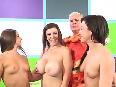 Long haired milf has her cunt drilled hardcore in a raunchy groupsex action