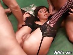 Sexy busty slut in lingerie gets double part6