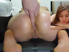 Miss April's kneeling enema injection