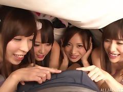 Cute Japanese girls in bunny ears and bikinis suck dick