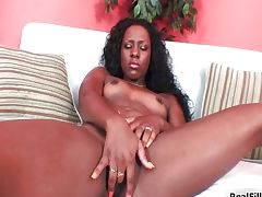 Black hot woman playing with her big