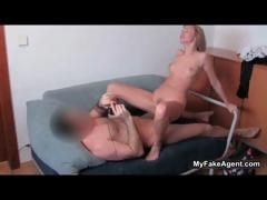 Sexy blonde whore goes crazy riding