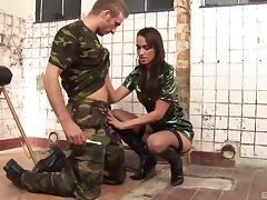 Army girl in sexy leather boots pounded by a fit guy