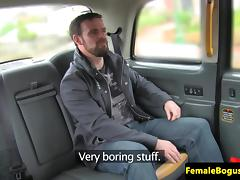 Busty brit cabbie vagina railed on backseat