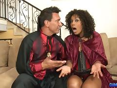 Dazzling chocolate chick with the curly hair enjoys the penetration