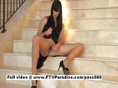 Lovely Amateur brunette girl toying pussy