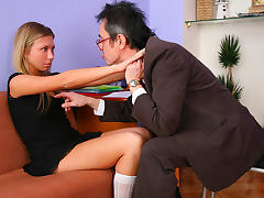 TrickyOldTeacher - Sassy blonde student exchanges help with blowjob and hard pussy fucking