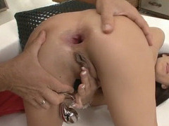 Skanky brunette babe asshole destroyed by Roccos big shaft