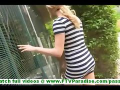Chloe passionate blonde public flashing pussy and masturbating and posing naked outdoors