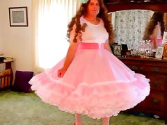 Beautiful crossdresser in petticoat