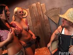 Alexis Texas and Jayden James share a big boner in the barn