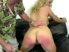 A cute rear get some hard hand spanking