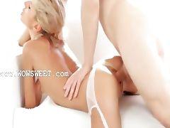 Blonde teen in ultra hot stocking