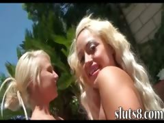 Two horny blonde hotties poolside fun with two hard shafts