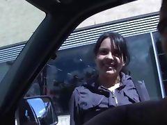 Slutty real latina hottie sucks on cock