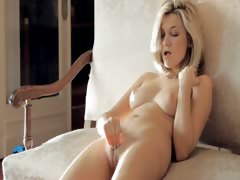 Beautiful titty babe touching herself