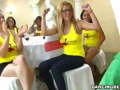 Horny chicks party with male strippers' cocks