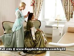 Judit and Juliette from sapphic erotica lesbo girls undressing