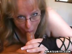 Amateur wife gives handjob and blowjob