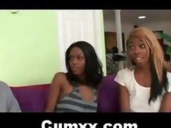 Two Black Afro FFM Interracial Threesome