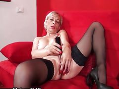 Nasty old whore having an orgasm playing