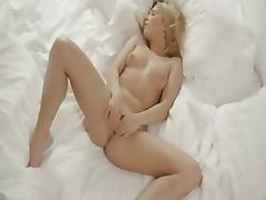 blond angel fingering snatch in white