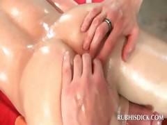 Gay masseur rubbing straight phallus