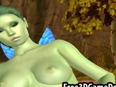 Sexy 3d cartoon elf with an all green and beautiful body
