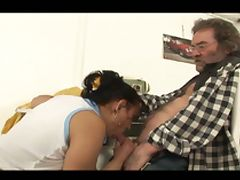 Handicap sex with horny daddy and hot brunette