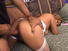 Hot Girl Feels that Her Hairy Pussy is Used by two Guys who Shot Their Cum into Teenage Mouth