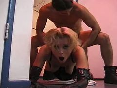Blonde chick gets a hardcore fuck in the kitchen