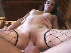Brunette having fun for a hard sex