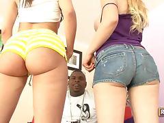 Addi Crue and Kelly Divine enjoy Hardcore Interracial Threesome