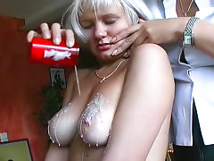Hot wax is so sexy on her tits