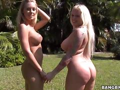 Angel Vain and Nicole Aniston Fooling Around Naked and Teasing their Male Neighbors