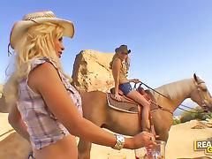Cowgirl Shyla Stylez lesbian sex outdoors