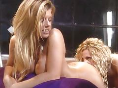 Lesbian blondes passionate pussy play