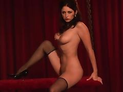 Hot brunette Carlotta Champagne feels happy to show her body