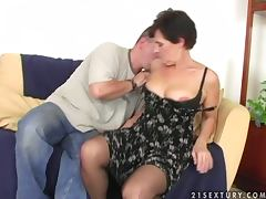 Dude Fucks Grandma and Cums On Her Bush