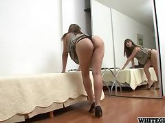 Horny blond shemale has an almost invisible cock
