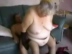 Fat old woman sucks a cock and gets fucked in homemade video