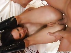 Horny Amber takes on four cocks