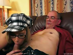 blondie sucks old man's dick and gets fucked