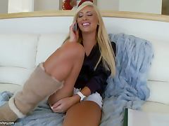 Gorgeous blonde college girl gets fucked and facialed